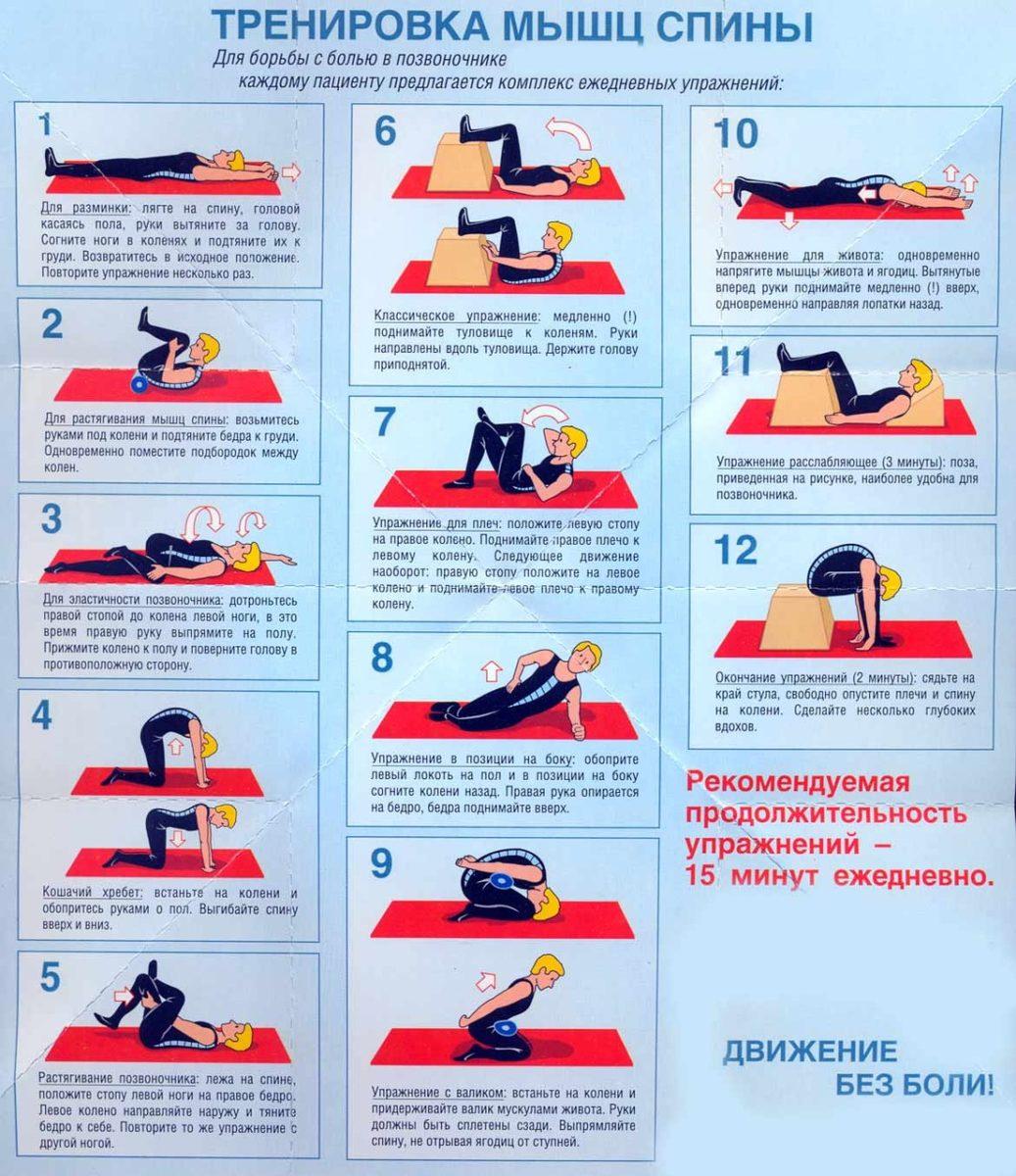комплекс упражнений для спины остеохондроз видео